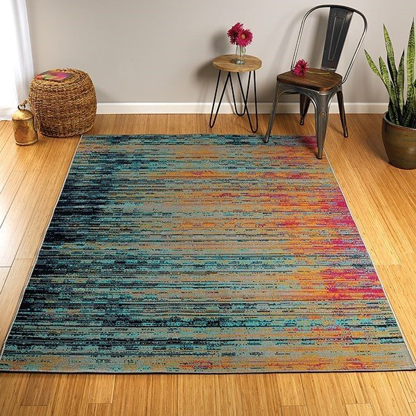 Turquoise, Gold, Pink (86) Contemporary / Modern Area Rug