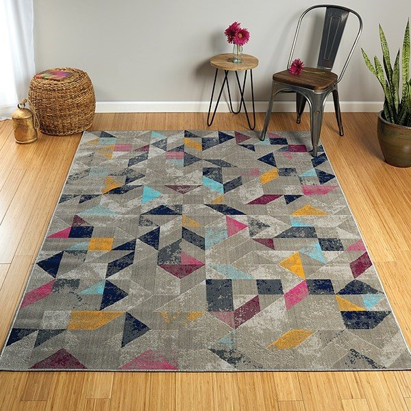 Dark Grey, Navy, Pink (86) Geometric Area Rug