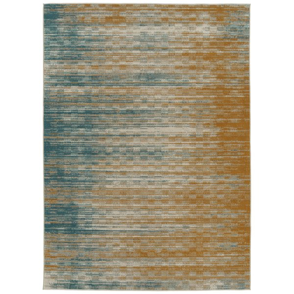 Gold, Blue, Turquoise (05) Abstract Area Rug