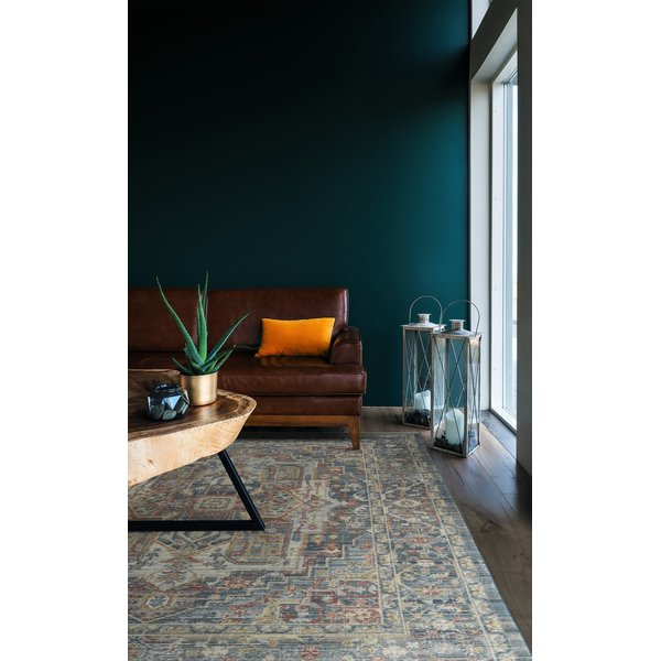 Blue, Grey, Brick (86) Traditional / Oriental Area Rug