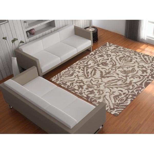 Khaki, Ivory Contemporary / Modern Area Rug