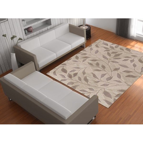 Ivory, Taupe Floral / Botanical Area-Rugs