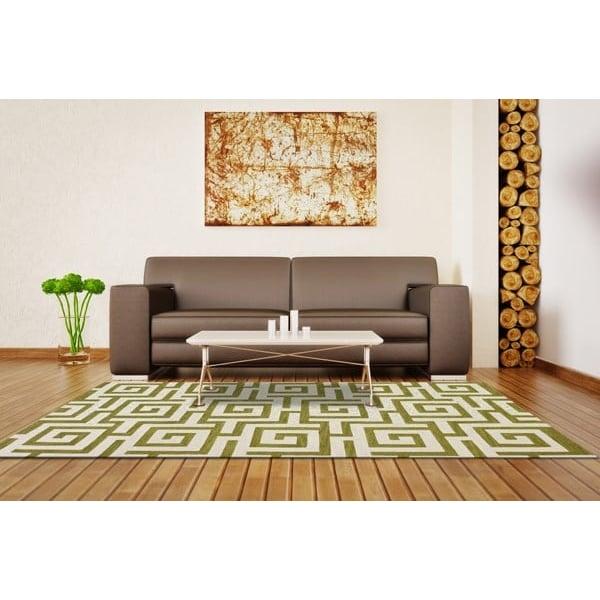 Citron, White Contemporary / Modern Area Rug