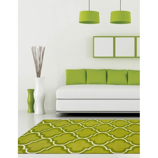 Lime, White Contemporary / Modern Area Rug