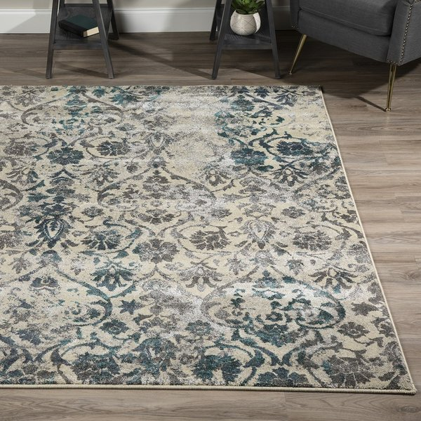 Teal, Linen, Grey Vintage / Overdyed Area Rug