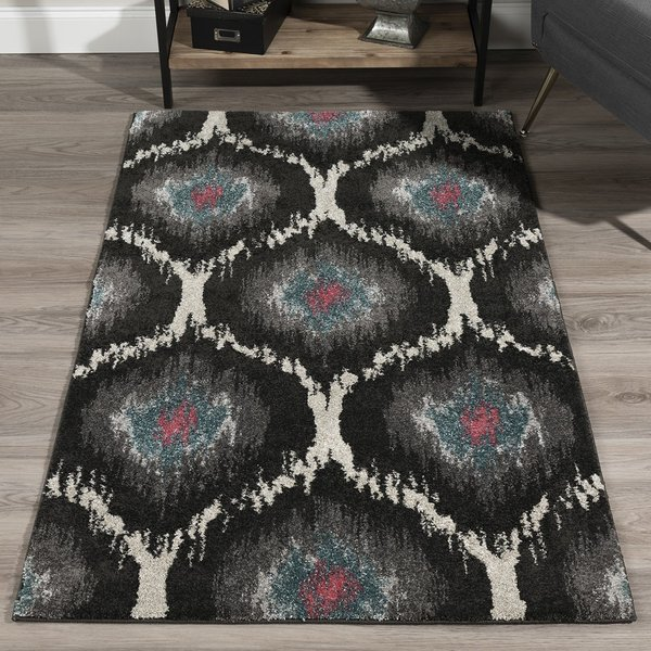 Charcoal, Silver, Grey, Pink Contemporary / Modern Area Rug