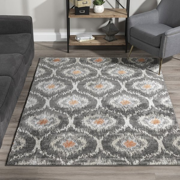 Pewter, Silver, Linen, Orange Contemporary / Modern Area Rug