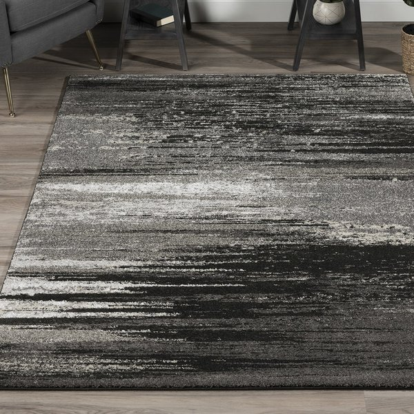 Pewter, Grey, Silver, Linen Contemporary / Modern Area Rug