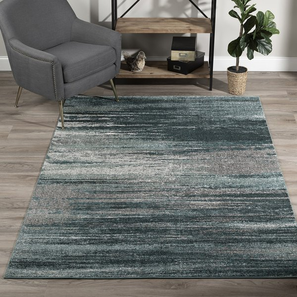 Teal, Grey, Silver Contemporary / Modern Area Rug