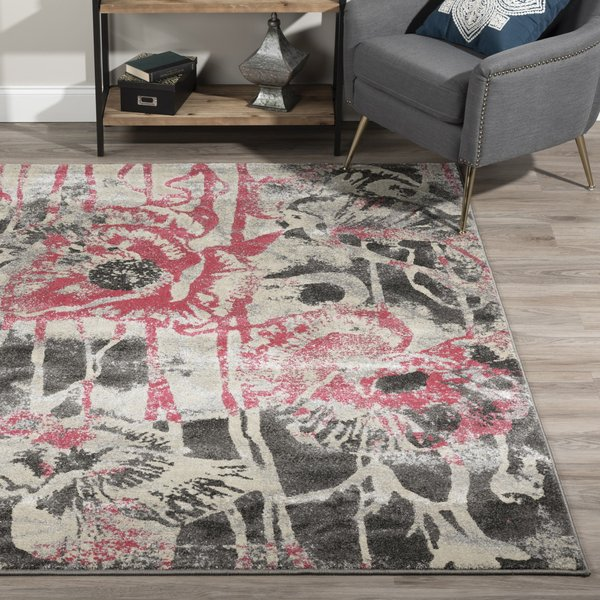 Blush, Pink, Linen, Grey Contemporary / Modern Area-Rugs