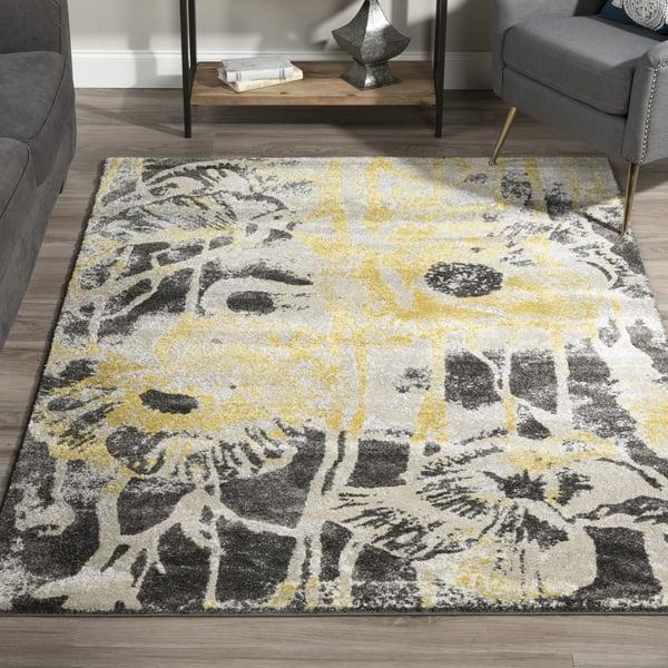 Lemon, Linen, Grey Contemporary / Modern Area-Rugs