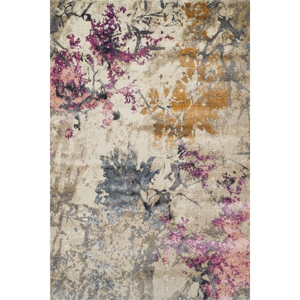 Ivory, Teal, Orchid Abstract Area Rug