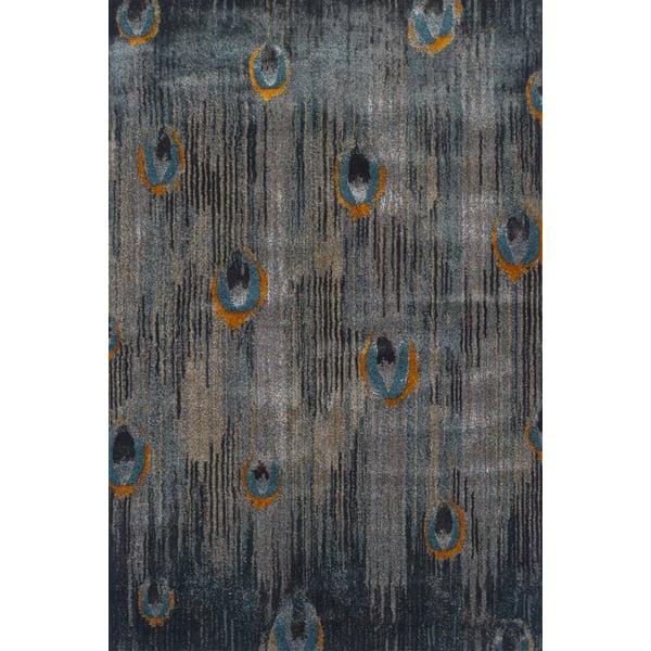 Grey, Teal, Tangerine Contemporary / Modern Area Rug
