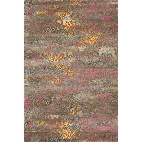 Taupe, Pink, Tangerine Contemporary / Modern Area Rug