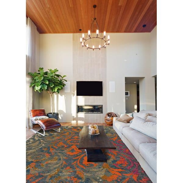 Teal, Grey, Orange Contemporary / Modern Area Rug