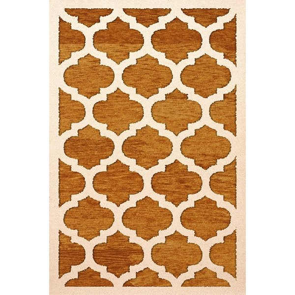 Orange, Ivory Contemporary / Modern Area Rug