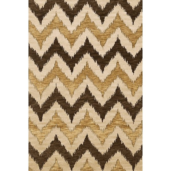 Chocolate, Beige, Gold Contemporary / Modern Area Rug