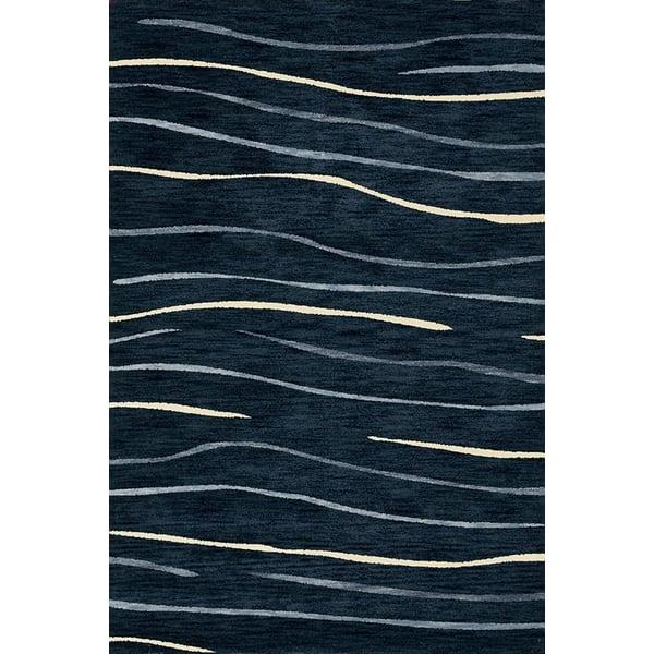 Navy, Blue, Ivory Contemporary / Modern Area Rug
