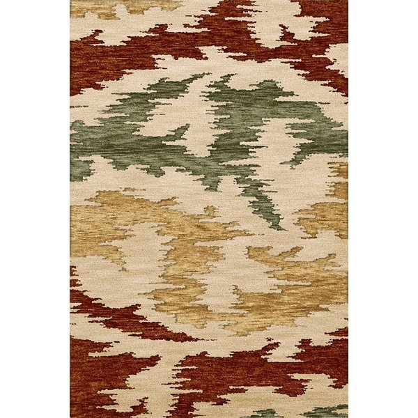 Paprika, Beige, Gold Contemporary / Modern Area Rug