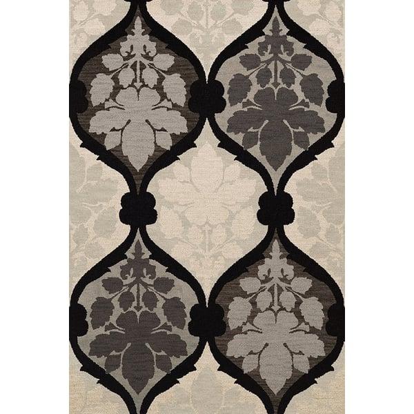 Black, Grey, Ivory Contemporary / Modern Area Rug