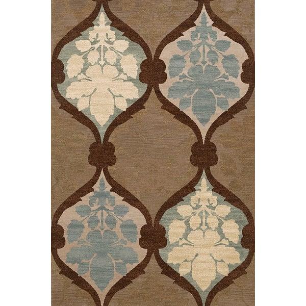 Fudge, Brown, Blue, Ivory Contemporary / Modern Area Rug