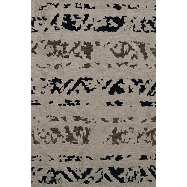 Silver, Black, Grey Contemporary / Modern Area-Rugs
