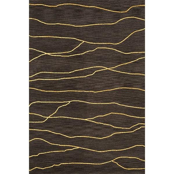 Ash, Yellow Contemporary / Modern Area Rug