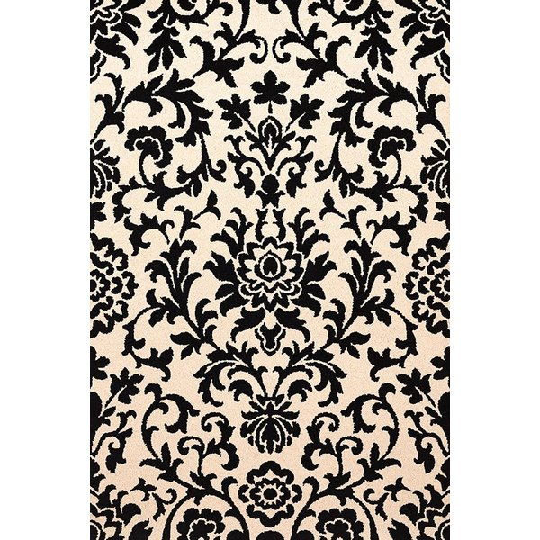 Black, Ivory Contemporary / Modern Area Rug