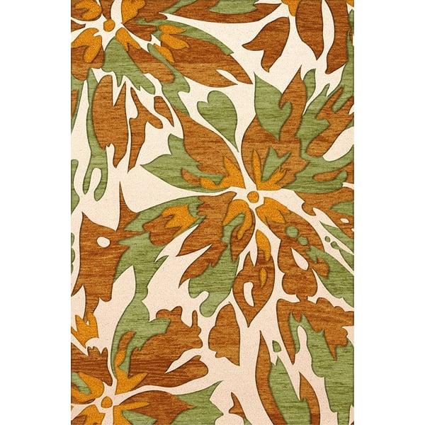 Cream, Green, Gold Floral / Botanical Area Rug