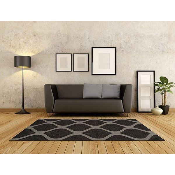 Metal, Charcoal, Grey Contemporary / Modern Area Rug