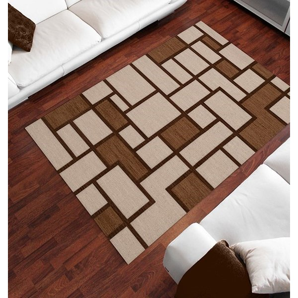 Earth, Ivory, Brown Contemporary / Modern Area-Rugs