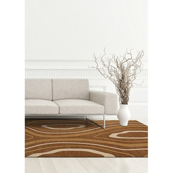 Rattan, Gold, Beige, Ivory Contemporary / Modern Area Rug