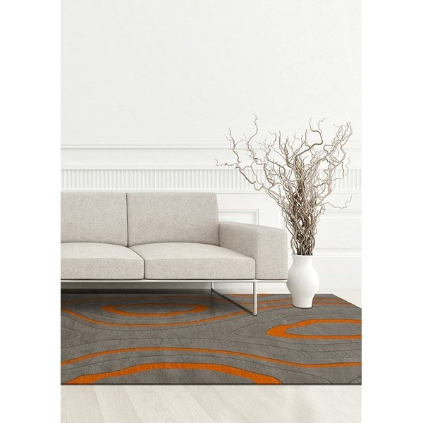 Zinc, Grey, Orange Contemporary / Modern Area Rug