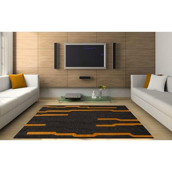 Seal, Grey, Gold Contemporary / Modern Area Rug