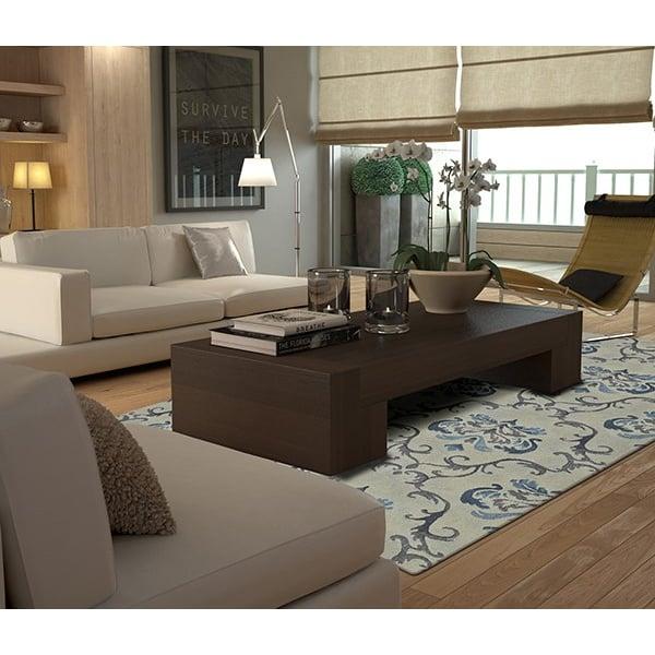 Linen, Grey, Blue Contemporary / Modern Area Rug