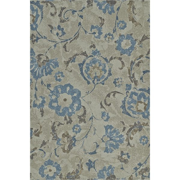 Taupe, Grey, Blue Contemporary / Modern Area Rug