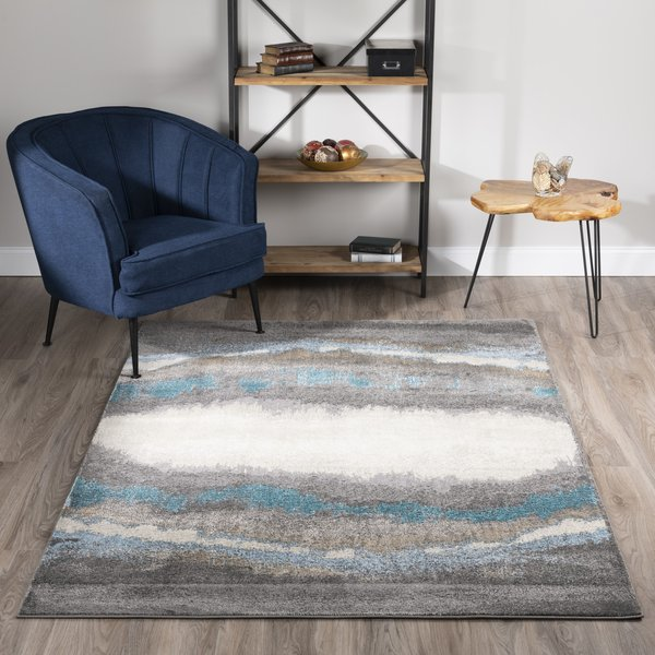 Pewter, Linen, Silver, Teal Contemporary / Modern Area Rug