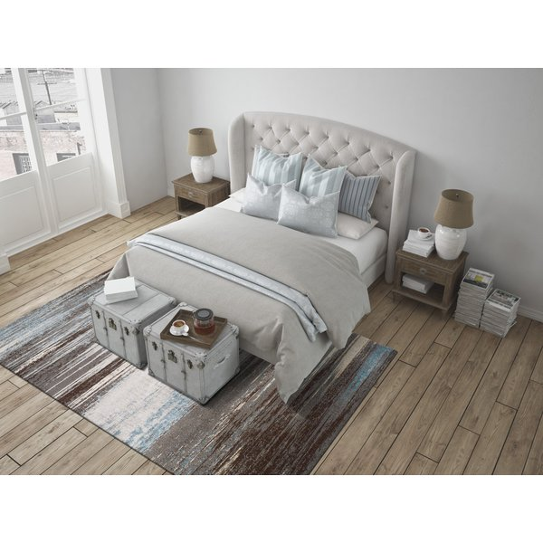 Linen, Teal, Steel, Chocolate Contemporary / Modern Area-Rugs