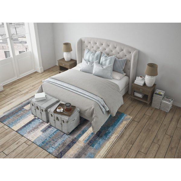 Linen, Pewter, Navy, Teal Contemporary / Modern Area-Rugs