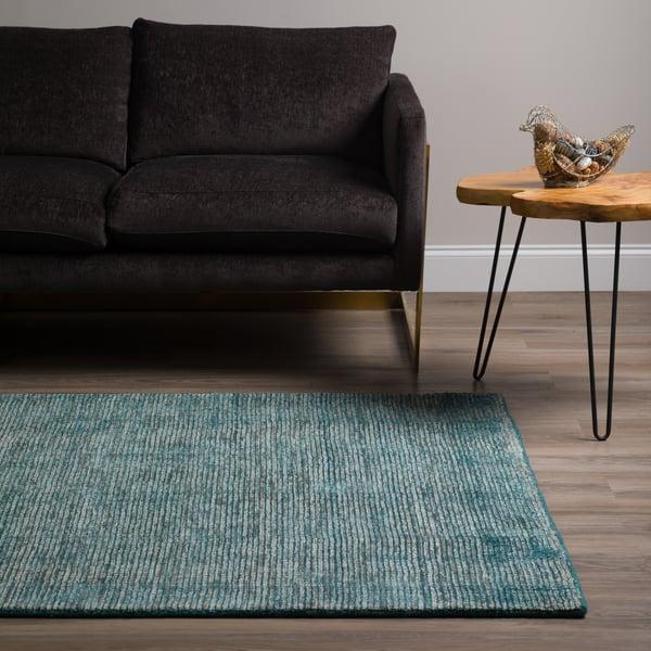 Teal, Grey Contemporary / Modern Area Rug