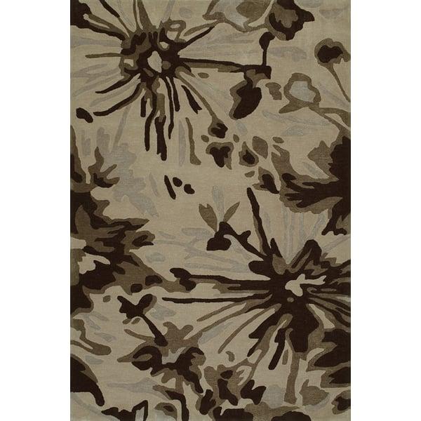Taupe Floral / Botanical Area Rug