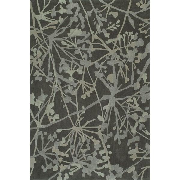 Graphite Floral / Botanical Area Rug