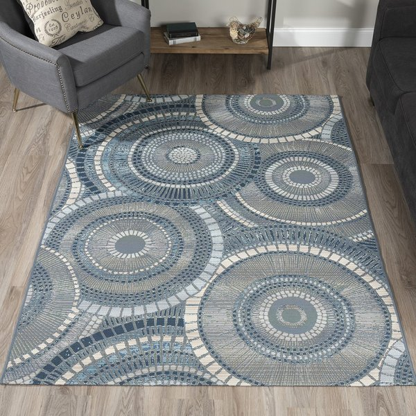 Indigo, Grey, Ivory, Taupe Contemporary / Modern Area Rug