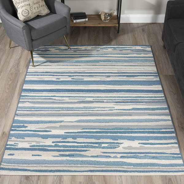 Indigo, Ivory, Taupe, Medium Blue, Teal Contemporary / Modern Area Rug