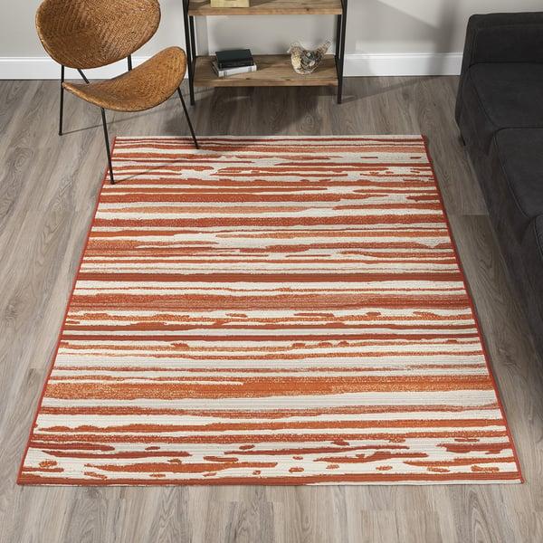 Paprika, Ivory, Orange, Beige Contemporary / Modern Area Rug