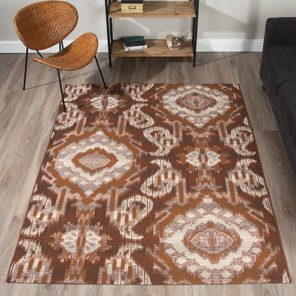 Chocolate, Gold, Taupe, Ivory Contemporary / Modern Area Rug