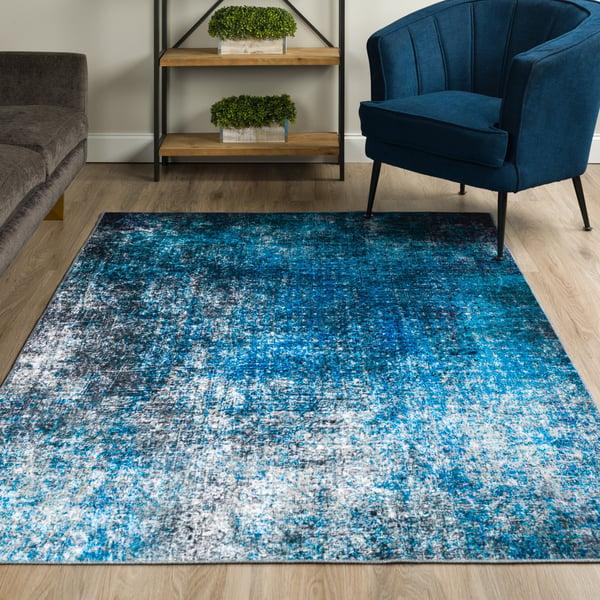 Cobalt Abstract Area Rug