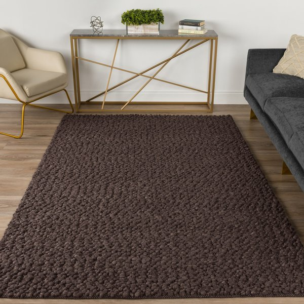 Chocolate, Brown Contemporary / Modern Area Rug