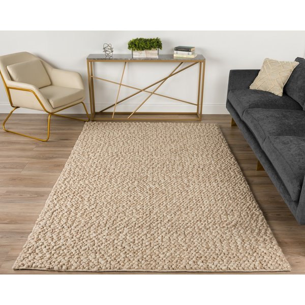 Latte, Taupe, Ivory Contemporary / Modern Area-Rugs