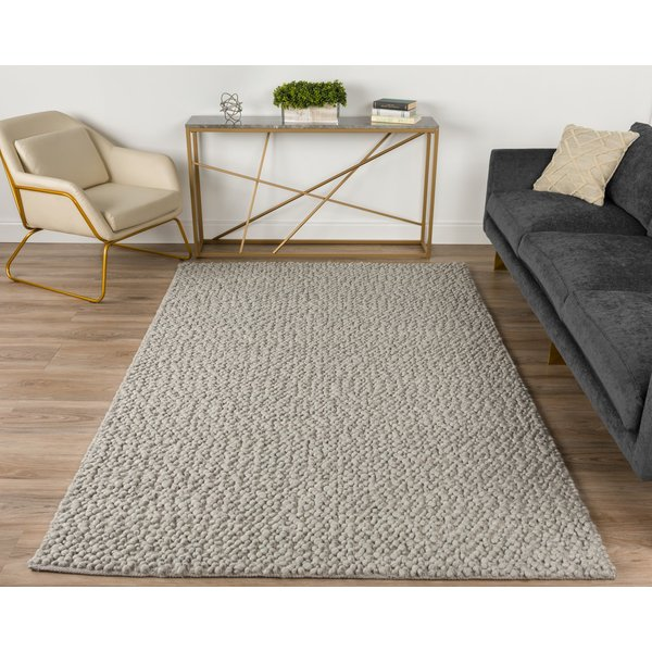 Silver, Ivory Contemporary / Modern Area-Rugs